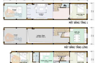 Mặt bằng công năng mẫu nhà phố 2 tầng 4x20m
