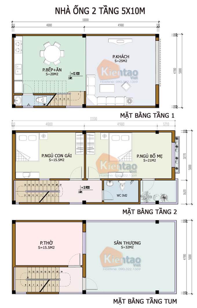 Công năng mẫu nhà phố 2 tầng 5x10m