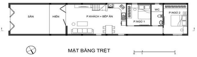 Mặt bằng tầng 1 mẫu nhà phố 2 tầng giá rẻ 250 triệu