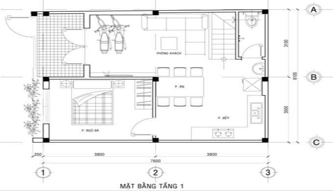 Mặt bằng công năng tầng 1 mẫu nhà phố 2 tầng giá rẻ 500 triệu