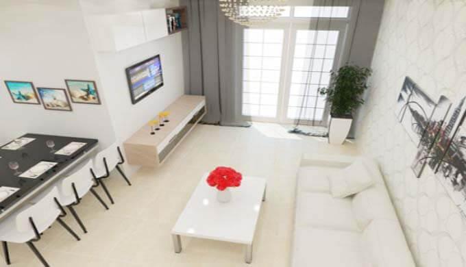 Phòng khách mẫu nhà phố 2 tầng giá rẻ 500 triệu