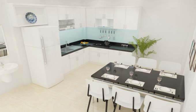 Phòng bếp mẫu nhà phố 2 tầng giá rẻ 500 triệu