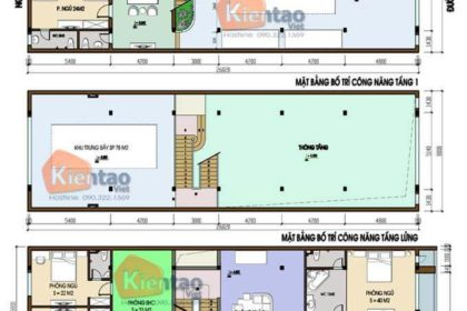 Công năng mẫu nhà phố 2 tầng mặt tiền 8m