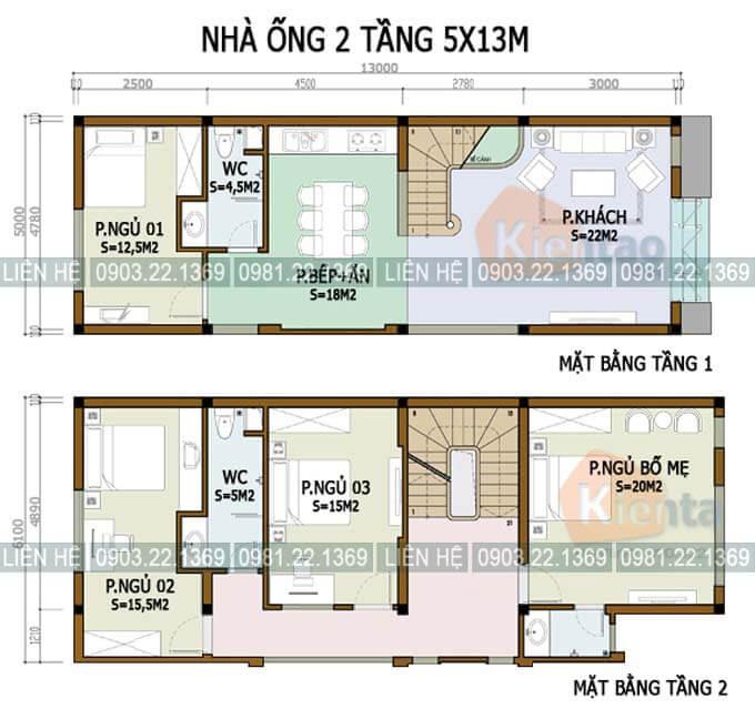 Bản vẽ mẫu thiết kế nhà phố 2 tầng 5x13m