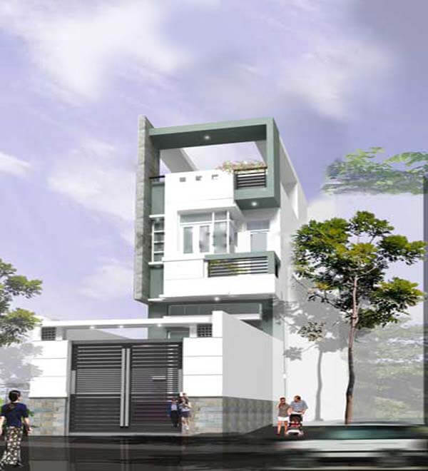 Phối cảnh mẫu thiết kế nhà phố 2 tầng 1 tum 5x20m