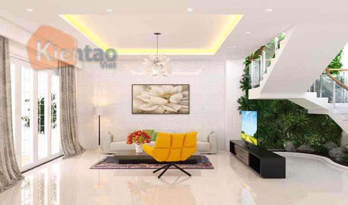 Phòng khách - mẫu thiết kế nhà phố 2 tầng 1 tum 5x20m