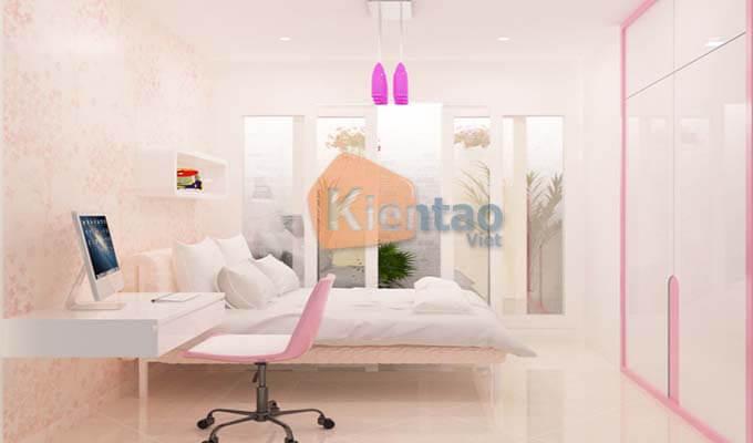 Phòng ngủ cho con gái - Mẫu thiết kế nhà phố 2 tầng 1 tum 5x20m