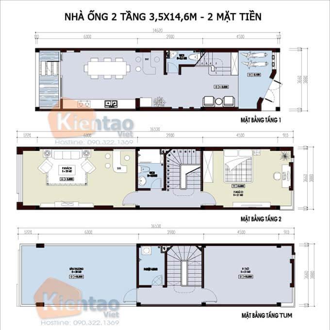 Bản vẽ công năng thiết kế nhà phố 2 tầng 3.5x14.6m