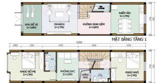 Mẫu 01: Bản vẽ nhà phố 2 tầng mặt tiền 4m