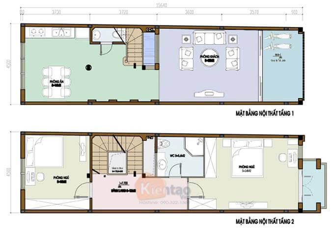 Mẫu 02: Bản vẽ nhà phố 2 tầng mặt tiền 4m