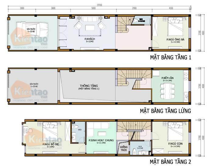 Mẫu 04: Bản vẽ nhà phố 2 tầng mặt tiền 4m có gác lửng