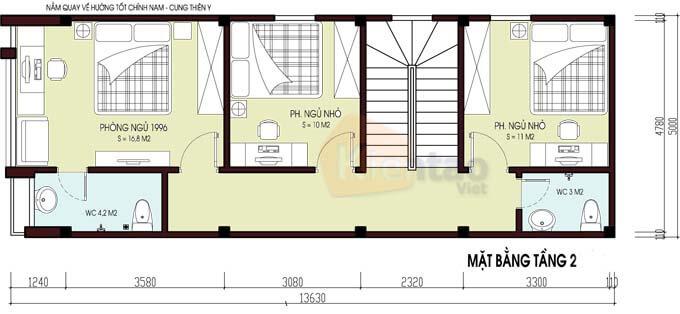 Công năng tầng 2 nhà phố 2 tầng 5x12.5m
