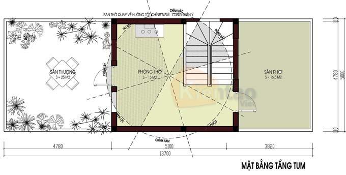 Công năng tầng tum nhà phố 2 tầng 5x12.5m