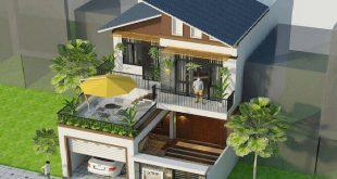 Mẫu 03: Mẫu thiết kế mặt tiền nhà phố 2 tầng 8m mái lệch