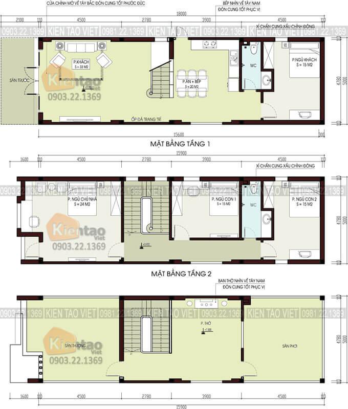 Công năng thiết kế nhà phố 2 tầng 1 tum 5x16m