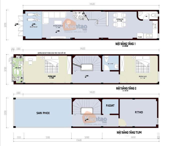 Nhà phố 2 tầng 1 tum hiện đại - Diện tích 3x14m