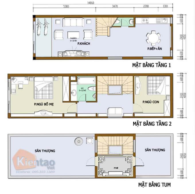 Nhà phố 2 tầng 1 tum hiện đại - Diện tích 3.4x12.6m