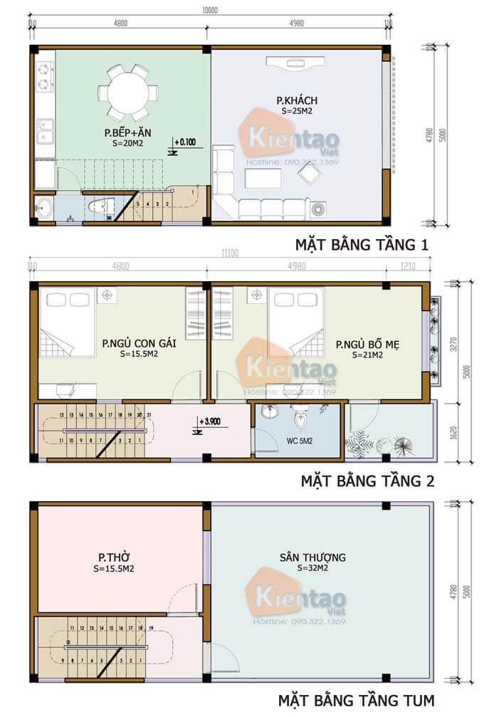 Nhà phố 2 tầng 1 tum hiện đại - Diện tích 5x10m