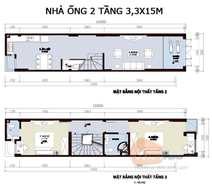 Công năng mẫu nhà phố 2 tầng 3.3x15m