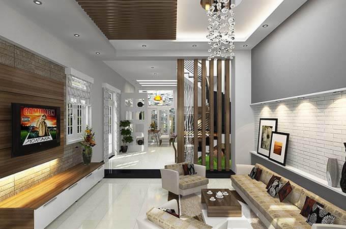 Nội thất phòng khách tham khảo - Mẫu nhà phố 2 tầng 3.3x15m