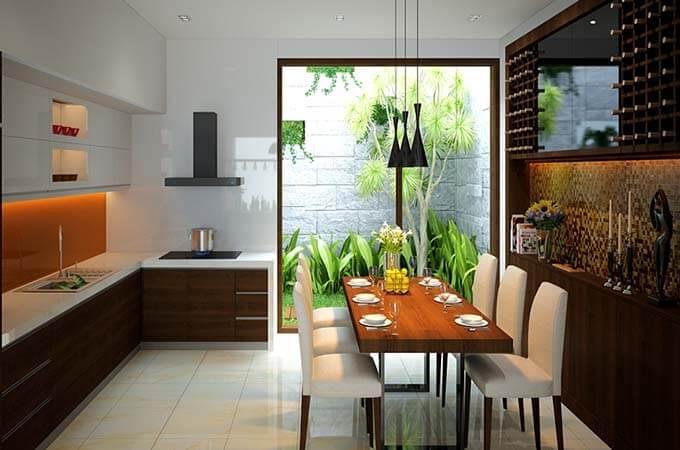 Nội thất phòng bếp ăn tham khảo - Mẫu nhà phố 2 tầng 3.3x15m