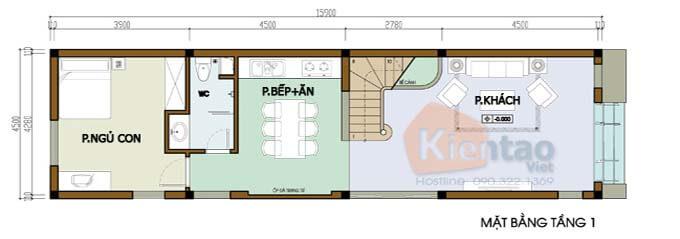 Tầng 1 - Mẫu nhà phố 2 tầng 4.5x16m