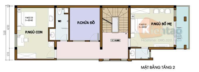 Tầng 2 - Mẫu nhà phố 2 tâng 4.5x16m