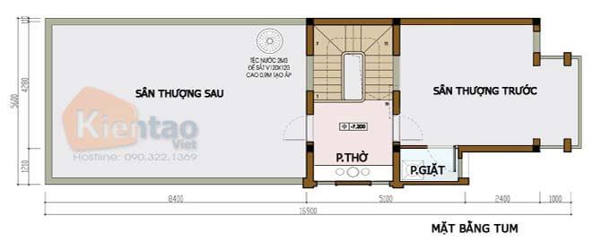 Tầng tum - Mẫu nhà phố 2 tầng 4.5x16m