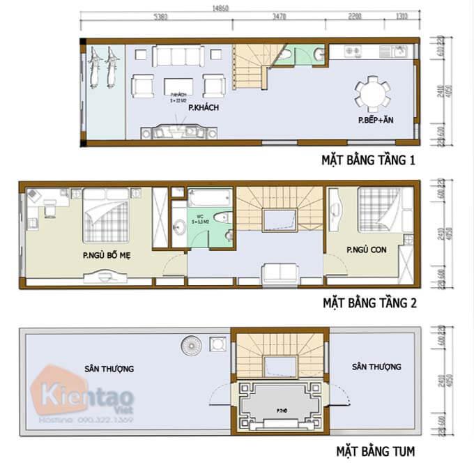 Mẫu 01: Thiết kế nhà phố 2 tầng mặt tiền 3m có 1 tum