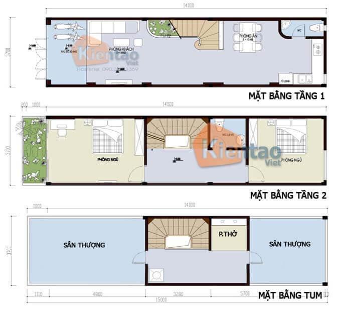 Mẫu 03: Thiết kế nhà phố 2 tầng mặt tiền 3m có 1 tum