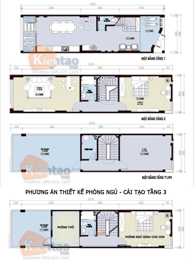 Mẫu nhà phố 2 tầng mặt tiền 3m 1 tum và phương án cải tạo tầng 3