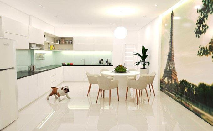 Phòng bếp ăn thiết kế nhà phố 2 tầng 4.7x8.2m