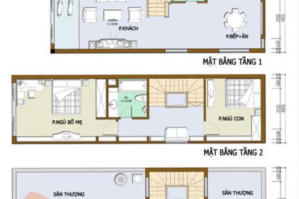 Thiết kế nhà phố 2 tầng 3.4x12.6m