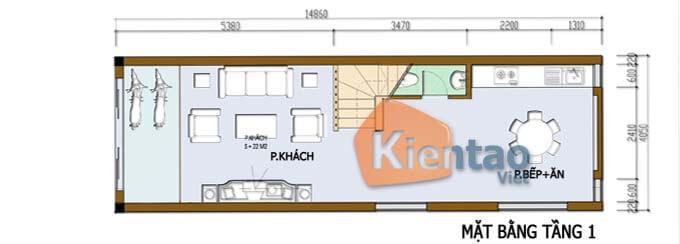Công năng tầng 1 thiết kế nhà phố 2 tầng 3.4x12.6m