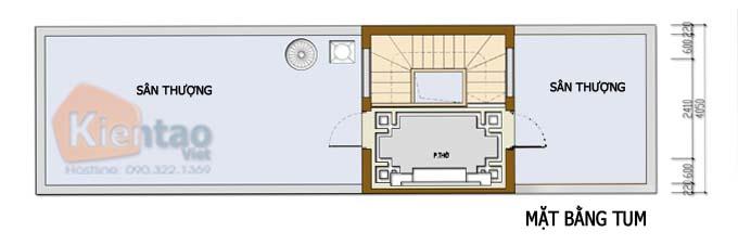Công năng tầng tum thiết kế nhà phố 2 tầng 3.4x12.6m