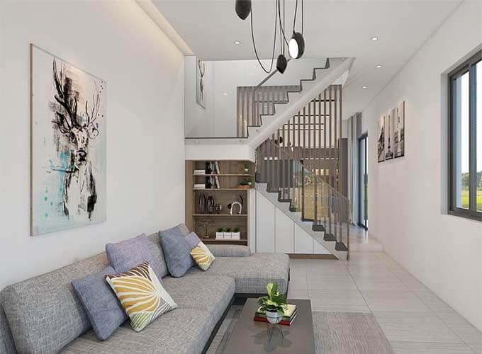 Phối cảnh phòng khách - Thiết kế nhà phố 2 tầng 4.3x12.6m