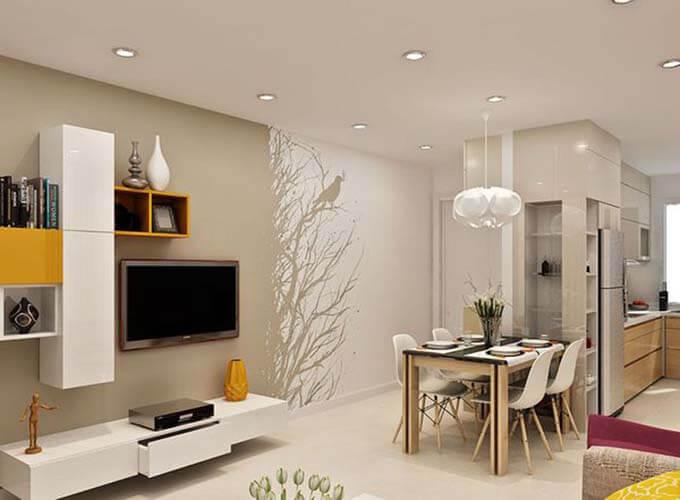 Phối cảnh phòng bếp - Thiết kế nhà phố 2 tầng 4.3x12.6m