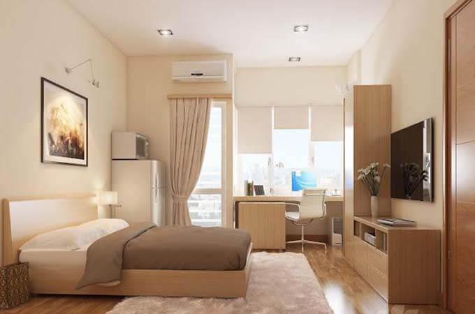 Phối cảnh phòng ngủ bố mẹ - Thiết kế nhà phố 2 tầng 4.3x12.6m