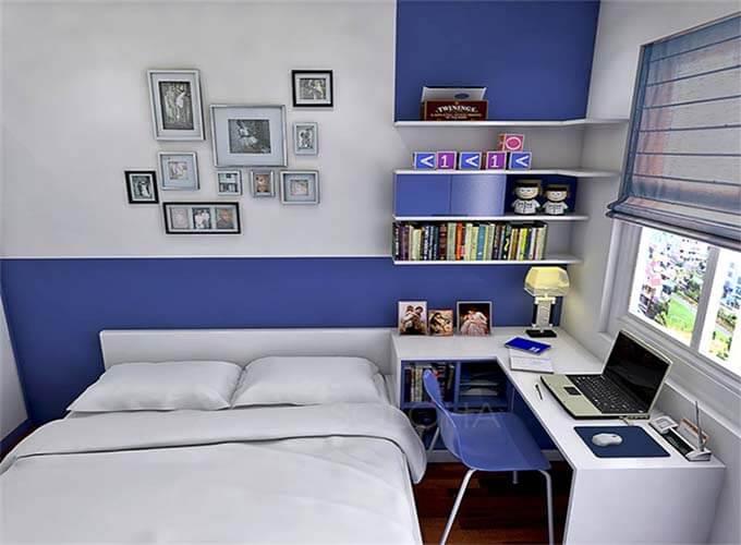 Phối cảnh phòng ngủ của con trai - Thiết kế nhà phố 2 tầng 4.3x12.6m