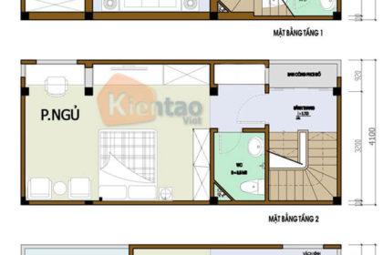 Bản vẽ thiết kế nhà phố 2 tầng 3.6x9.3m