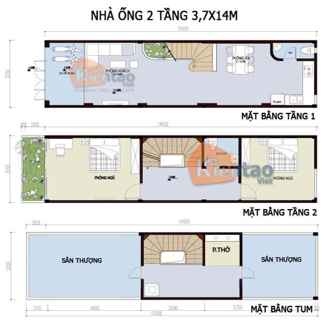 Công năng thiết kế nhà phố 2 tầng 3.7x14m