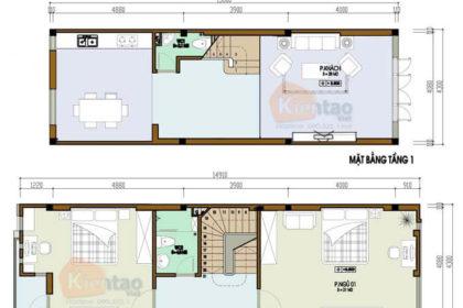 Mẫu thiết kế nhà phố 2 tầng 4.3x13m