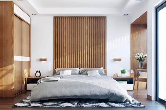 Phối cảnh phòng ngủ cho vợ chồng tham khảo - Mẫu nhà phố 2 tầng 4.3x13m