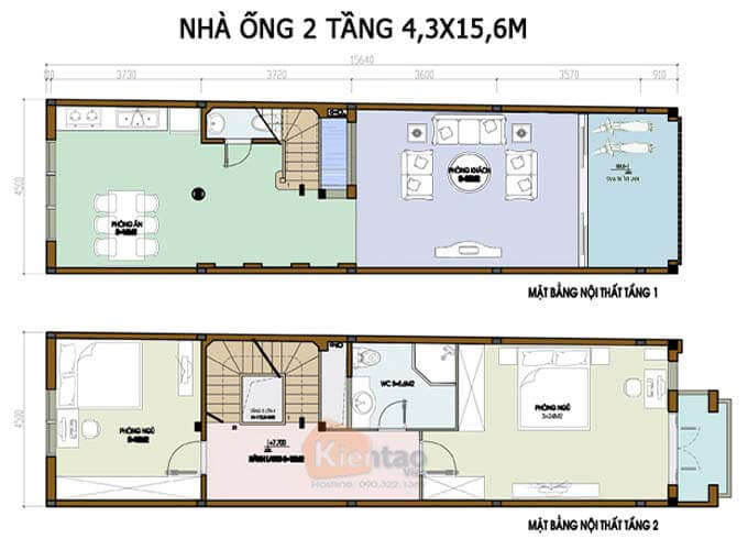 Bản vẽ thiết kế nhà phố 2 tầng 4.3x15.6m
