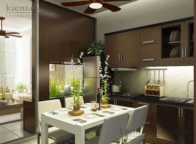 Phối cảnh phòng bếp thiết kế nhà phố 2 tầng 4.3x15.6m