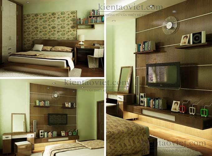 Phối cảnh phòng ngủ thiết kế nhà phố 2 tầng 4.3x15.6m
