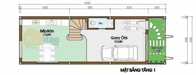 Tầng 1 thiết kế nhà phố 2 tầng 4.5x14m
