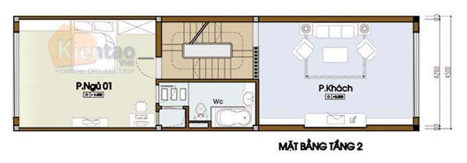 Tầng 2 thiết kế nhà phố 2 tầng 4.5x14m