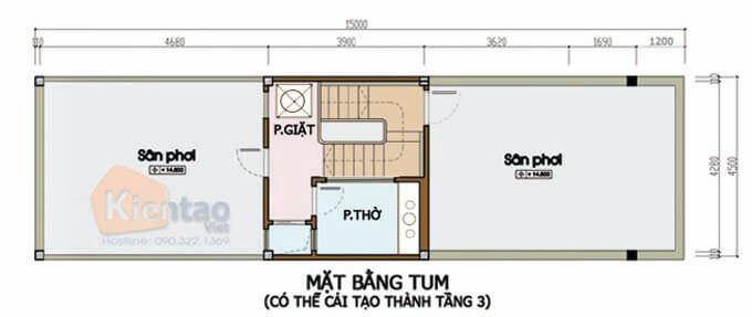 Tầng tum thiết kế nhà phố 2 tầng 4.5x14m