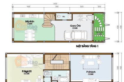 Công năng thiết kế nhà phố 2 tầng 4.5x14m